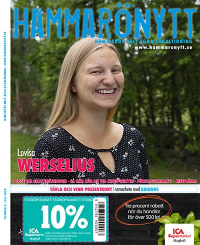 Bild av Hammarönytt juli 2019. Vi ser Lovisa Werselius med ett stort leende.