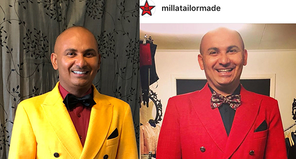 """Manoel """"Junior"""" Marques i sin fina gula kostym bredvid bild av honom i från förra årets kostym som är röd."""