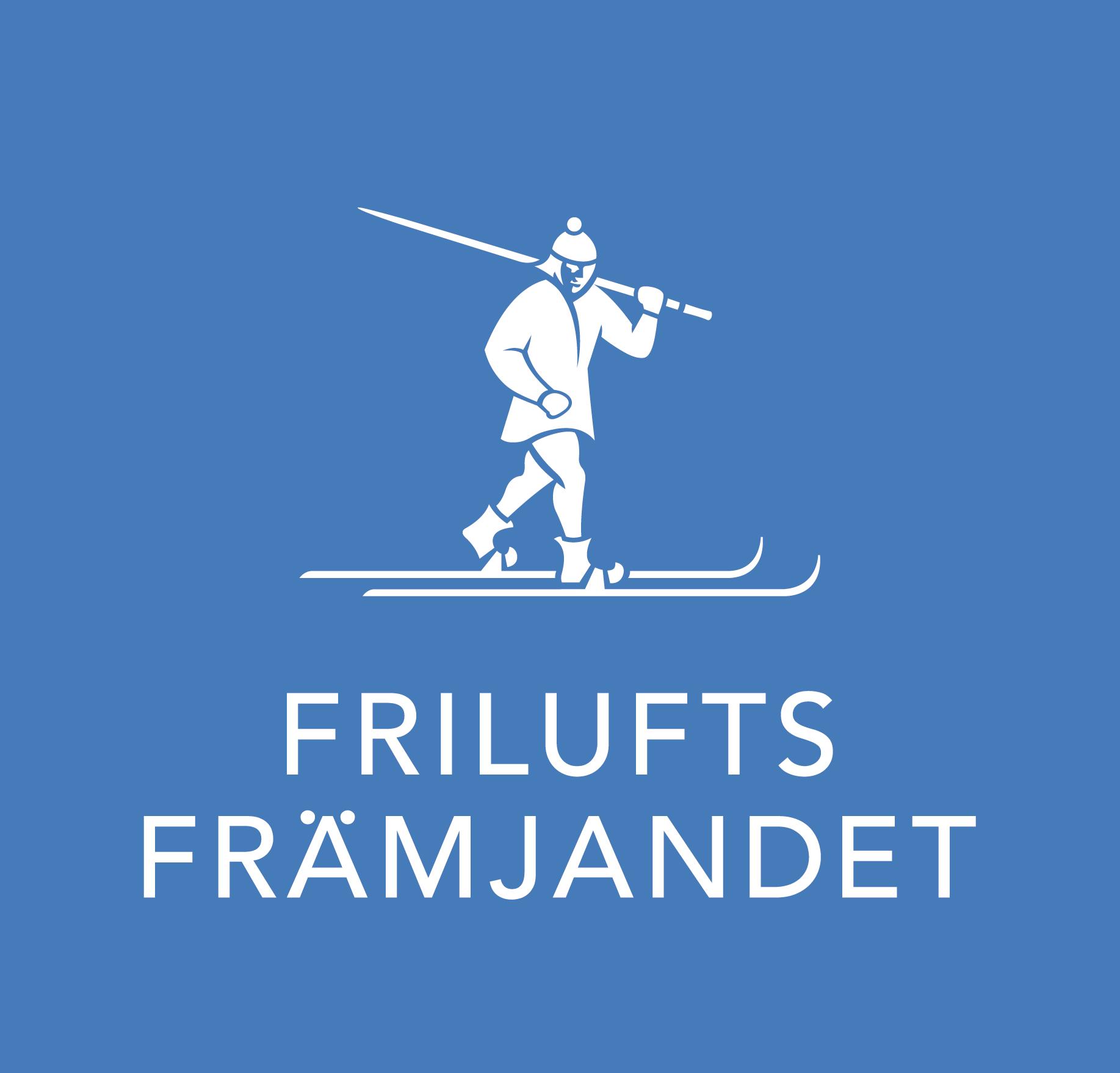 Friluftsfrämjandets logo. Blå fyrkant med en vit illustration av en man på skidor.