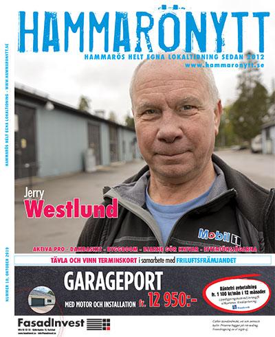 Omslaget till Hammarönytt oktober 2019. Vi ser Jerry Westlund som är numrets huvudperson.
