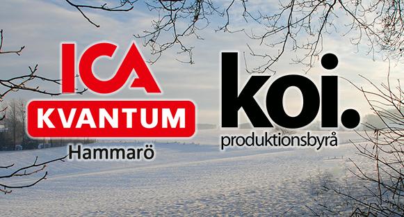 Vinterbild med ICA Kvantums och Koi Produktionsbyrås logotyper ovanpå.